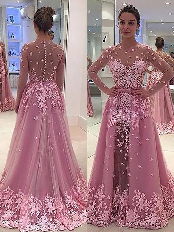 A-Line/Princess Applique Scoop Long Sleeves Floor-Length Tulle Dresses