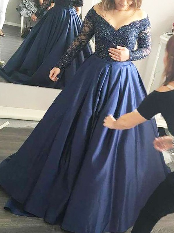 Ball Gown Beading Off-the-Shoulder Long Sleeves Sweep/Brush Train Satin Dresses