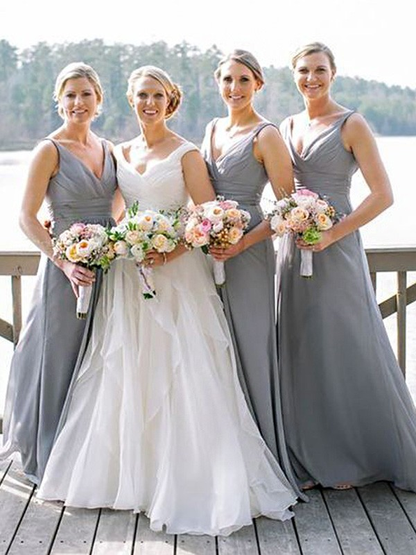3f42726e94 A-Line Princess V-neck Sleeveless Floor-Length Chiffon Bridesmaid Dresses