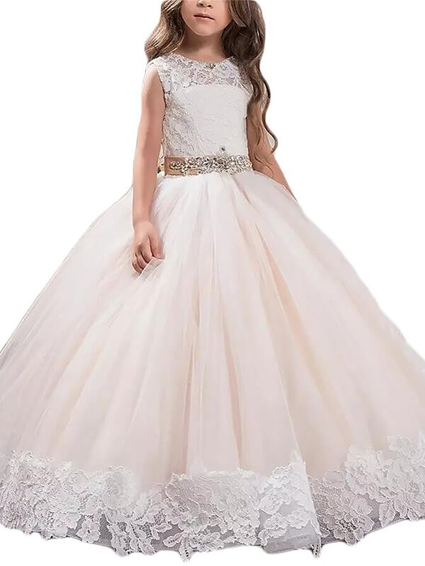 Ball Gown Lace Scoop Sleeveless Floor-Length Tulle Flower Girl Dresses