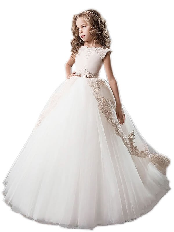 Ball Gown Applique Scoop Sleeveless Floor-Length Tulle Flower Girl Dresses