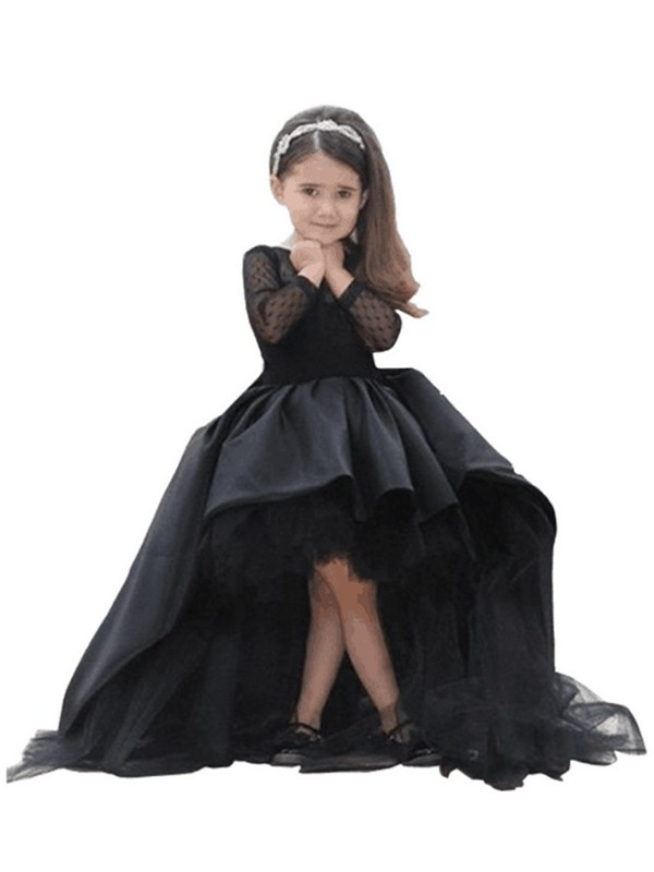Ball Gown Sash/Ribbon/Belt Scoop Long Sleeves Floor-Length Satin Flower Girl Dresses