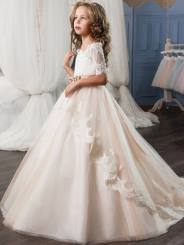 Ball Gown Sash/Ribbon/Belt Off-the-Shoulder Short Sleeves Floor-Length Tulle Flower Girl Dresses