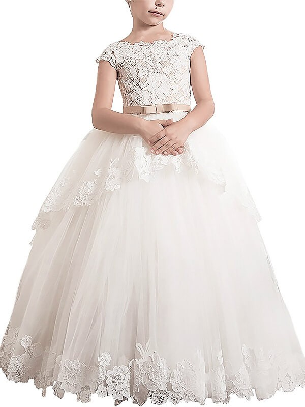 330625afc Ball Gown Lace Scoop Sleeveless Floor-Length Tulle Flower Girl Dresses