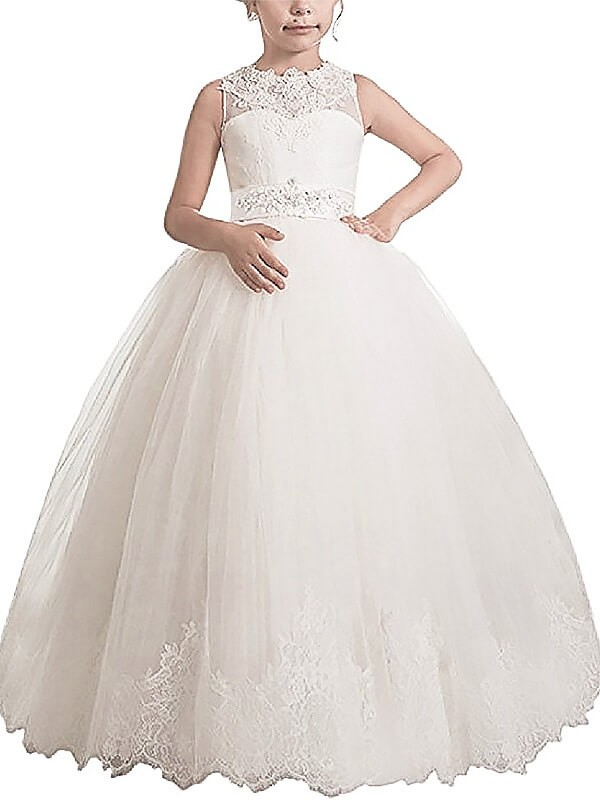 Ball Gown Sash/Ribbon/Belt Scoop Sleeveless Floor-Length Tulle Flower Girl Dresses