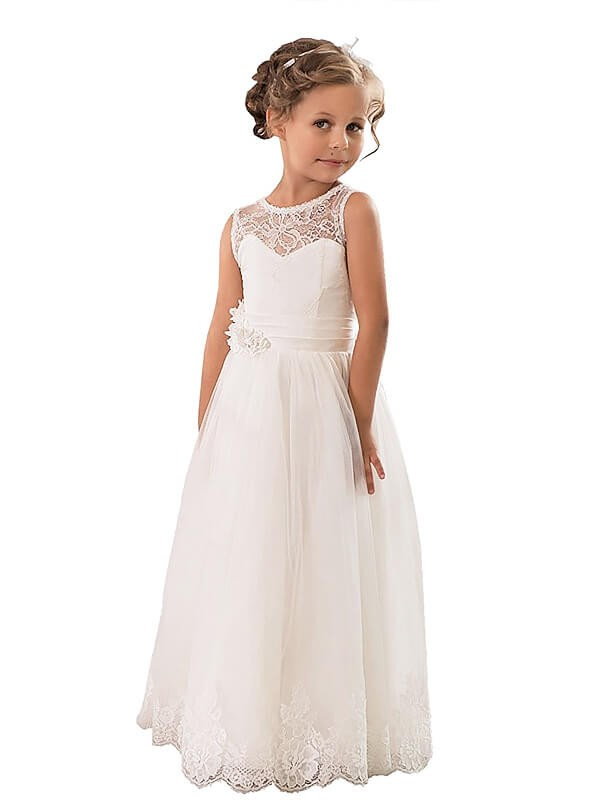 A-Line/Princess Scoop Sleeveless Floor-Length Tulle Flower Girl Dresses