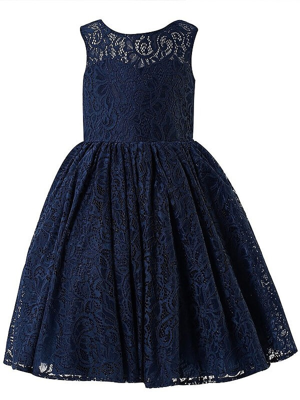 A-Line/Princess Scoop Sleeveless Tea-length Lace Flower Girl Dresses
