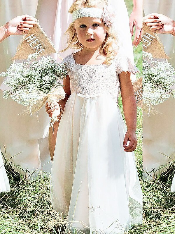 4e824b4aa6 A-Line Princess Lace Square Short Sleeves Floor-Length Chiffon Flower Girl  Dresses