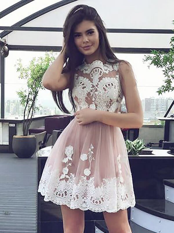 A-Line/Princess Lace Scoop Sleeveless Short/Mini Chiffon Dresses