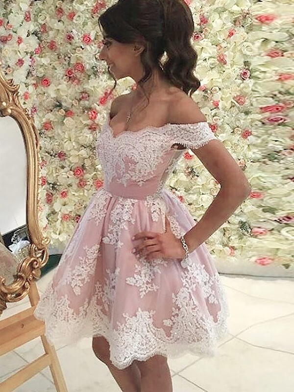 A-Line/Princess Applique Off-the-Shoulder Sleeveless Short/Mini Tulle Dresses
