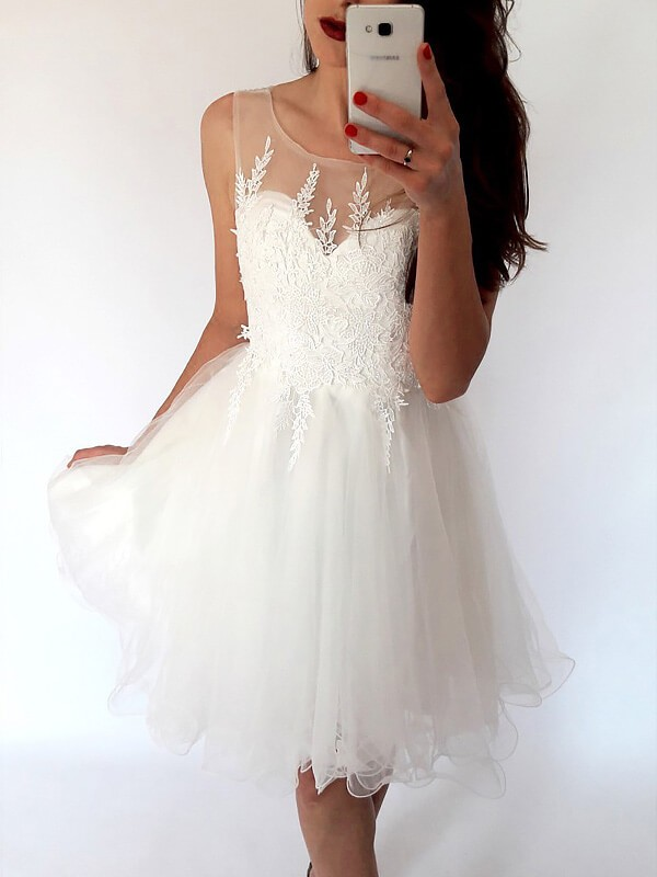 A-Line/Princess Scoop Sleeveless Short/Mini Tulle Dresses