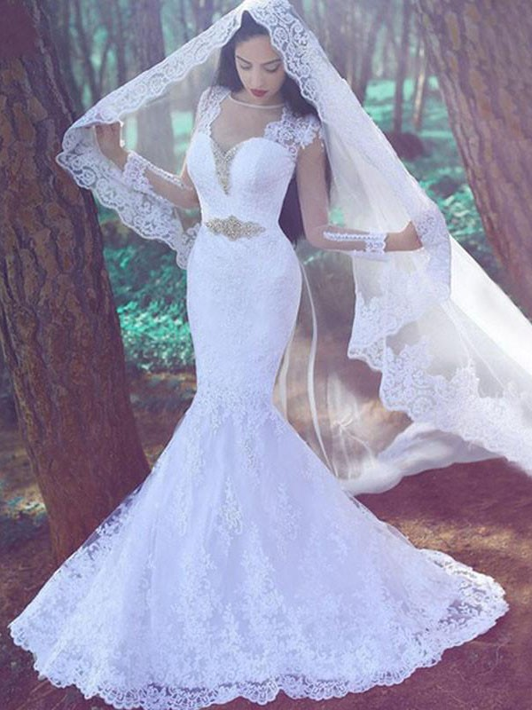 Trumpet/Mermaid Applique Sweetheart Long Sleeves Court Train Lace Wedding Dresses