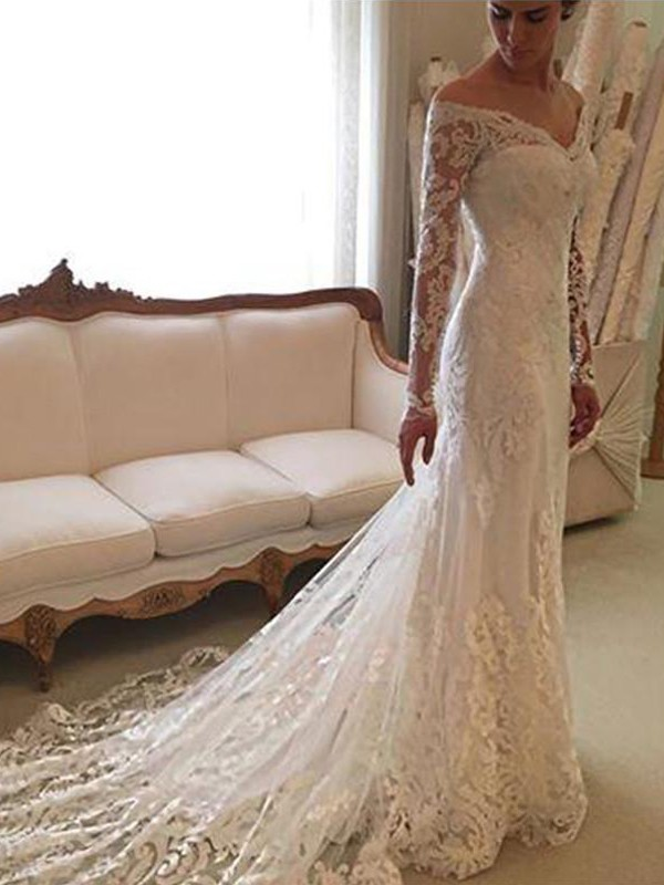 Sheath/Column Off-the-Shoulder Long Sleeves Court Train Lace Wedding Dresses