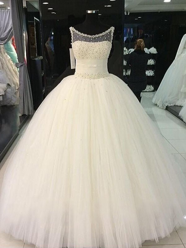 Ball Gown Beading Scoop Sleeveless Floor-Length Tulle Wedding Dresses