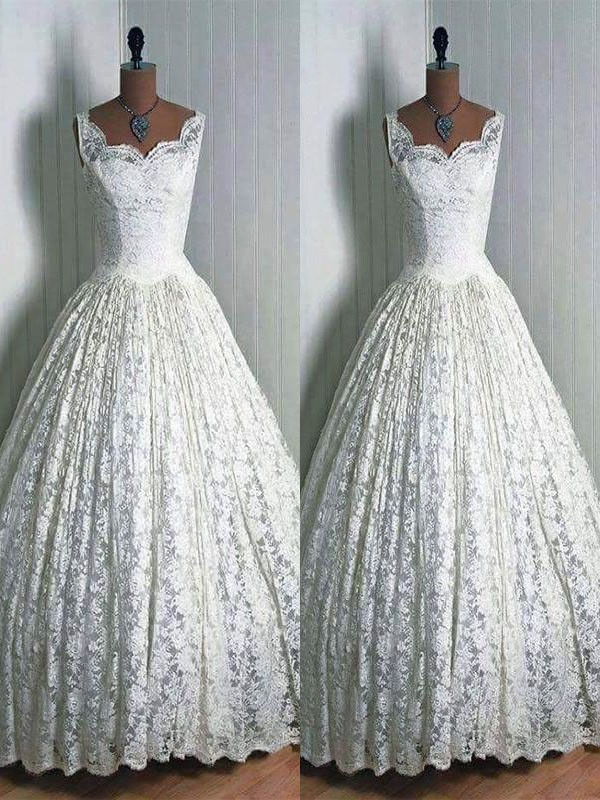 Ball Gown Sweetheart Sleeveless Floor-Length Lace Wedding Dresses