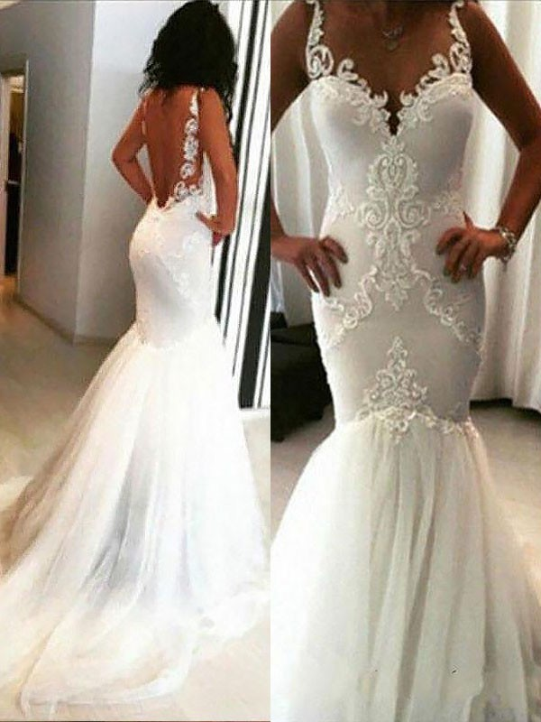 Trumpet/Mermaid Applique Spaghetti Straps Sleeveless Chapel Train Tulle Wedding Dresses