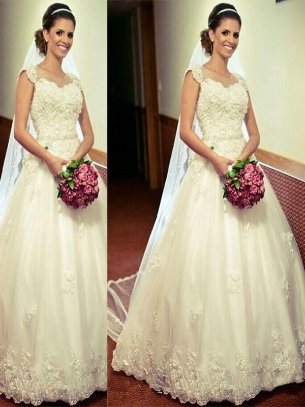 Ball Gown Sweetheart Sleeveless Floor-Length Tulle Wedding Dresses