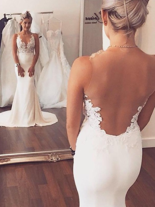 Trumpet/Mermaid Applique Scoop Sleeveless Court Train Spandex Wedding Dresses