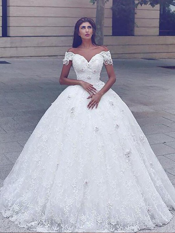 Ball Gown Off-the-Shoulder Short Sleeves Floor-Length Lace Wedding Dresses