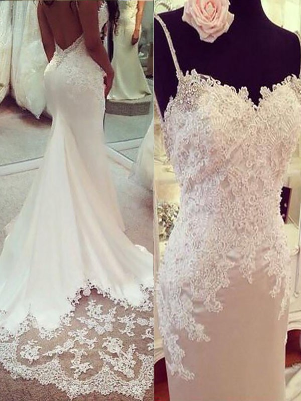 Trumpet/Mermaid Applique Spaghetti Straps Sleeveless Court Train Satin Wedding Dresses
