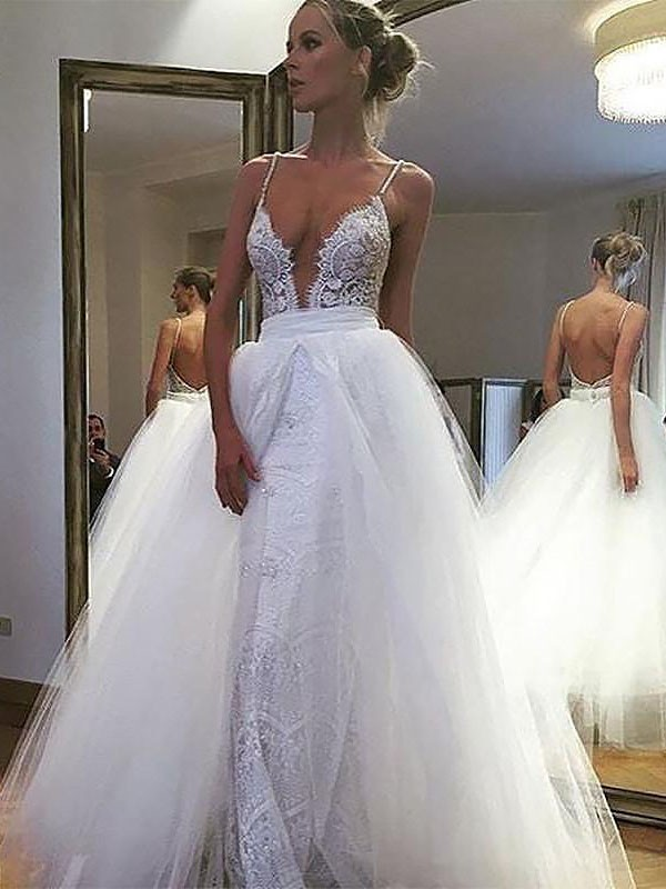 A-Line/Princess Lace Spaghetti Straps Sleeveless Floor-Length Tulle Wedding Dresses