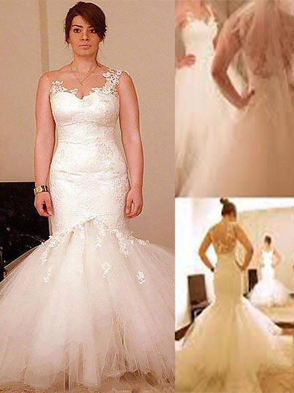 Trumpet/Mermaid Straps Sleeveless Floor-Length Tulle Wedding Dresses
