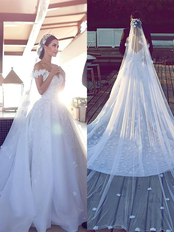 Ball Gown V-neck Sleeveless Chapel Train Tulle Wedding Dresses