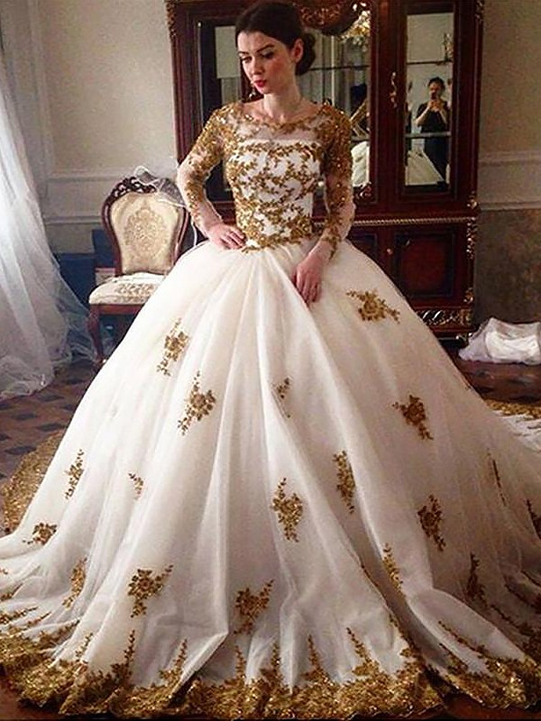 Ball Gown Scoop Long Sleeves Court Train Tulle Wedding Dresses