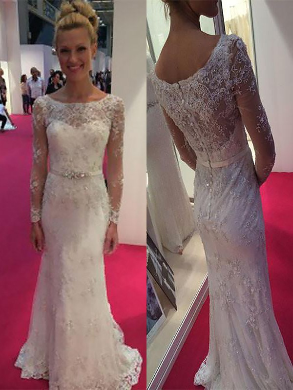 Sheath/Column Lace Scoop Long Sleeves Sweep/Brush Train Chiffon Wedding Dresses