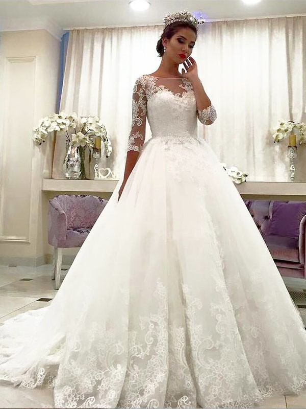 Ball Gown Bateau 3/4 Sleeves Court Train Tulle Wedding Dresses