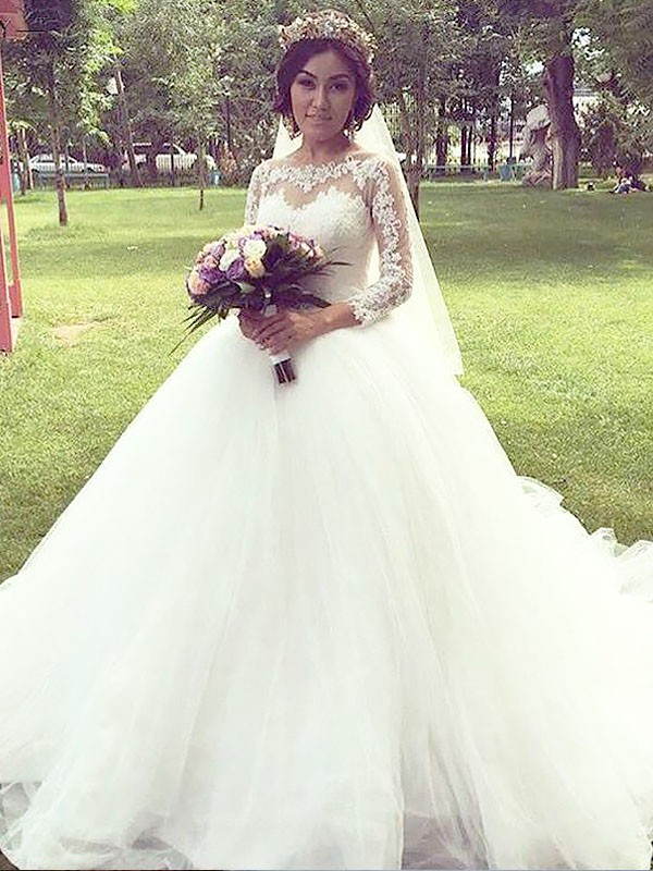 Ball Gown Bateau Long Sleeves Court Train Tulle Wedding Dresses