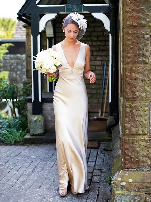 Sheath/Column V-neck Sleeveless Floor-Length Train Satin Wedding Dresses
