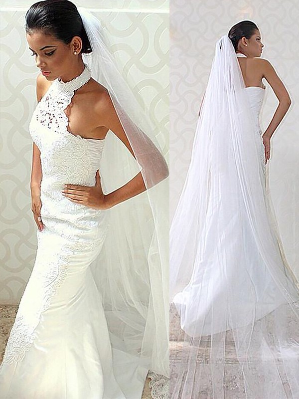 Trumpet/Mermaid Halter Sleeveless Sweep/Brush Train Satin Wedding Dresses