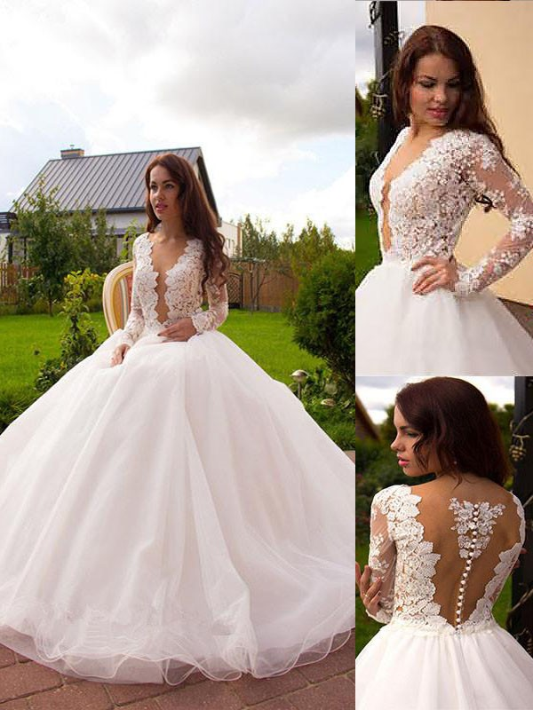 Ball Gown V-neck Long Sleeves Court Train Tulle Wedding Dresses