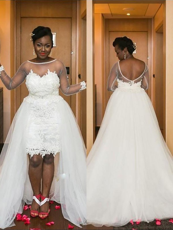 A-Line/Princess Scoop Long Sleeves Court Train Tulle Wedding Dresses
