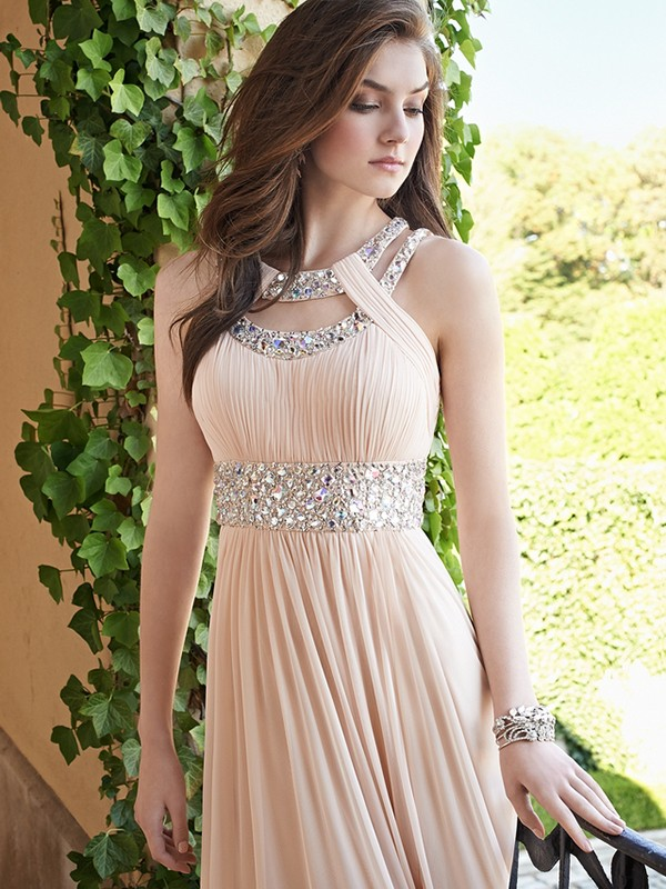 A-Line/Princess Beading Bateau Sleeveless Floor-Length Chiffon Dresses