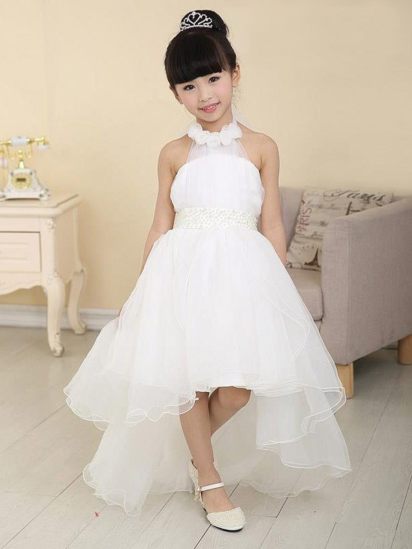 A-Line/Princess Beading High Neck Sleeveless Asymmetrical Organza Flower Girl Dresses