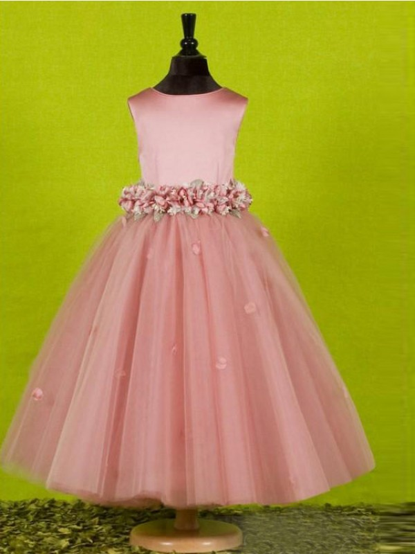 A-Line/Princess Bowknot Scoop Sleeveless Tea-Length Tulle Flower Girl Dresses