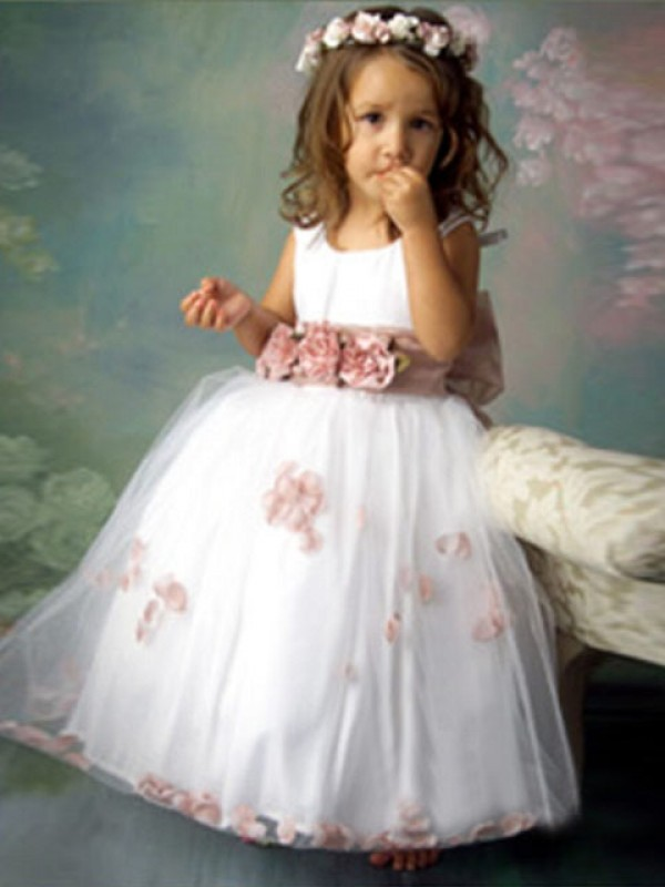 A-Line/Princess Hand-Made Flower Scoop Sleeveless Floor-Length Tulle Flower Girl Dresses