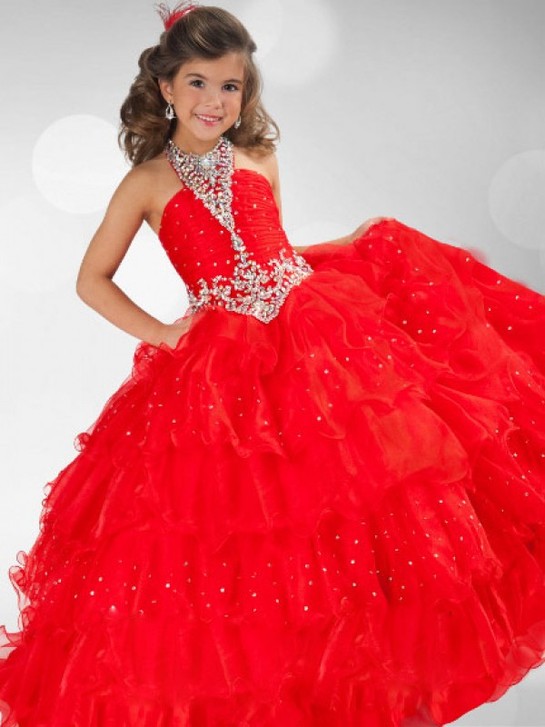 Ball Gown Sequin Halter Sleeveless Floor-Length Organza Flower Girl Dresses