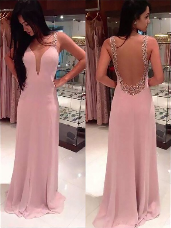 A-Line/Princess Beading Straps Sleeveless Floor-Length Chiffon Dresses