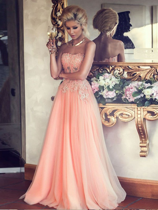A-Line/Princess Applique Strapless Sleeveless Floor-Length Chiffon Dresses
