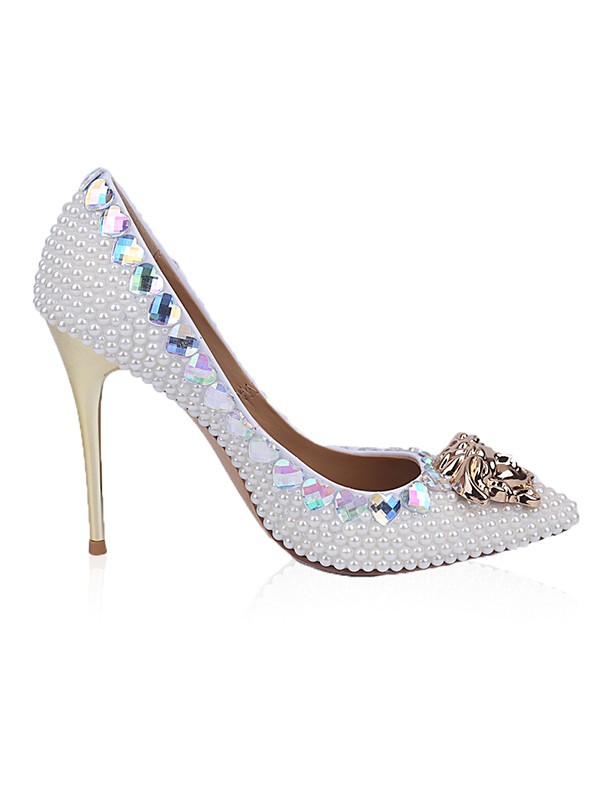 Women's Patent Leather Closed Toe Stiletto Heel With Rhinestone Pearl High Heels