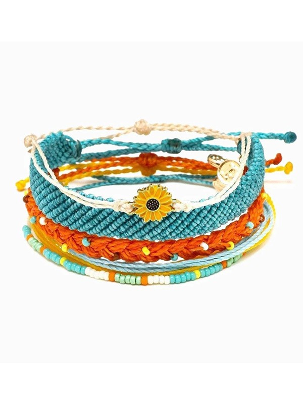Lovely Hand-Woven Wax Thread Alloy Dripping Daisy Bracelets(5 pieces)