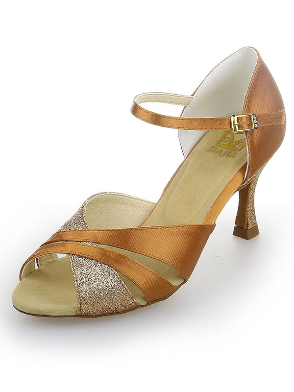 Women's Peep Toe Satin Stiletto Heel Sparkling Glitter Dance Shoes