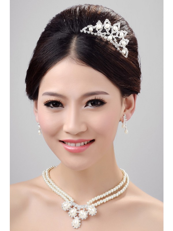 Very Nice Alloy Clear Crystals Pearls Wedding Headpieces Necklaces Earrings Set