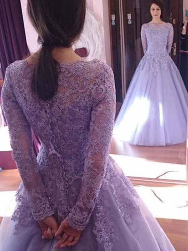 Ball Gown Jewel Long Sleeves Floor-Length Lace Tulle Dresses