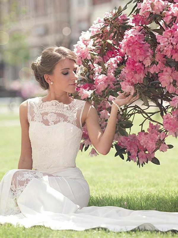 A-Line/Princess Bateau Sleeveless Sweep/Brush Train Lace Chiffon Wedding Dresses