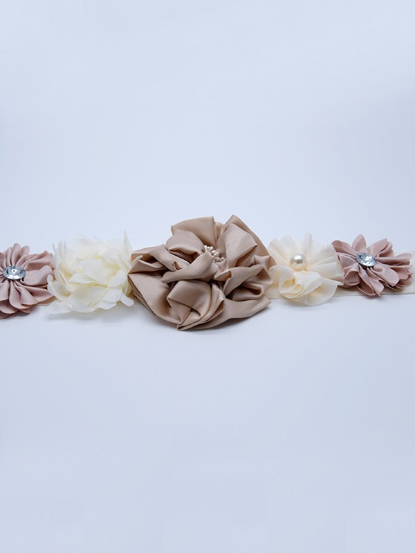 Unique Satin Sashes With Imitation Pearls/Flowers