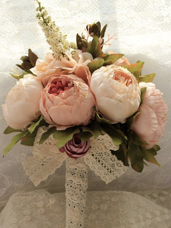 Graceful Free-Form Silk Flower Bridal Bouquets